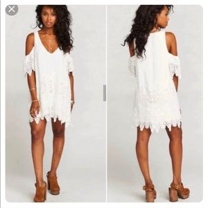 Show Me Your Mumu Birdie White Lace Ruffle Dress
